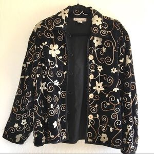 Vintage Embroidered Black Blazer Jacket size M